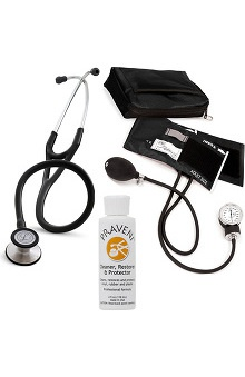 3M™ Littmann® Cardiology III™, Prestige Medical Adult Sphygmomanometer with Case, and Praveni Cleaning Kit