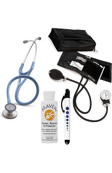 3M™ Littmann® Cardiology III™, Prestige Medical Adult Sphygmomanometer with Case, Quick Lites Penlight and Praveni Cleaning Kit