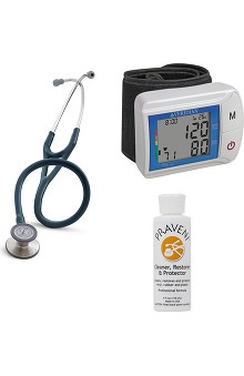 3M™ Littmann® Cardiology III™, Veridian Healthcare Digital Blood Pressure Monitor, and Praveni Cleaning Kit