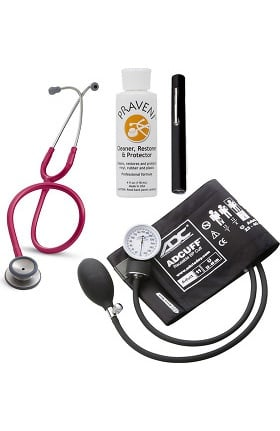 3M Littmann Classic II SE, ADC Phosphyg Sphygmomanometer, Penlight and Praveni Cleaning Kit