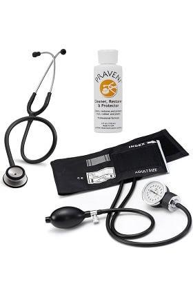 3M Littmann Classic II SE, Prestige Medical Basics Sphygmomanometer, and Praveni Cleaning Kit