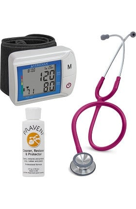 3M Littmann Classic II SE, Veridian Healthcare Digital Blood Pressure Monitor, and Praveni Cleaning Kit