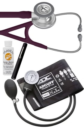 3M Littmann Cardiology IV™ Stethoscope with ADC® Prosphyg 760 Aneroid Sphygmomanometer, Adlite Plus™ Disposable Penlight & Praveni Cleaning Kit
