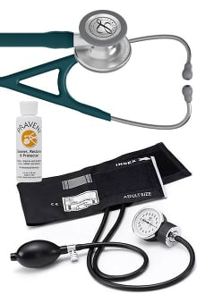 3M™ Littmann® Cardiology IV™ Stethoscope With Prestige Medical Basics Aneroid Sphygmomanometer & Praveni Cleaning Kit