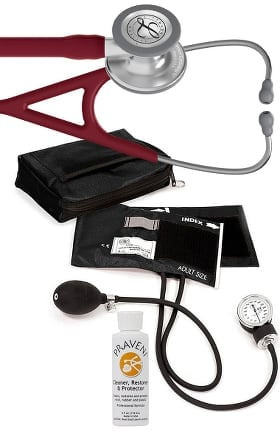 3M Littmann Cardiology IV™ Stethoscope with Prestige Medical Aneroid Sphygmomanometer, Carrying Case & Praveni Cleaning Kit