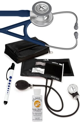 3M Littmann Cardiology IV™ Stethoscope With Prestige Medical Aneroid Sphygmomanometer, Carrying Case, Pupil Gauge Quick Lites Penlight & Praveni Cleaning Kit