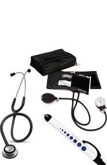 3M™ Littmann® Classic II SE Stethoscope, Prestige Medical Adult Sphygmomanometer with Case and Quick Lites Penlight Kit