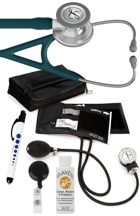 3M Littmann Cardiology IV™ Stethoscope with Prestige Medical Aneroid Sphygmomanometer, Carrying Case, Pupil Gauge Quick Lites Penlight, Retracteze Badge Holder & Praveni Cleaning Kit