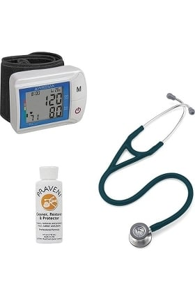 3M Littmann Cardiology IV™ Stethoscope with Veridian Healthcare Digital Blood Pressure Monitor & Praveni Cleaning Kit