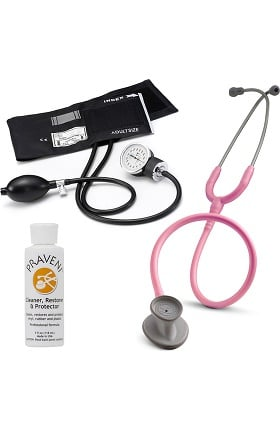 3M Littmann Lightweight II S.E. Stethoscope With Prestige Medical Basics Aneroid Sphygmomanometer & Praveni Cleaning Kit
