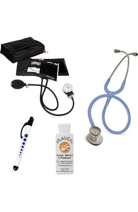 3M Littmann Lightweight II S.E. Stethoscope with Prestige Medical Aneroid Sphygmomanometer, Carrying Case, Pupil Gauge Quick Lites Penlight & Praveni Cleaning Kit
