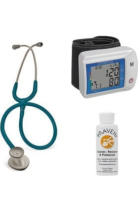 3M Littmann Lightweight II S.E. Stethoscope with Veridian Healthcare DiGital Blood Pressure Monitor & Praveni Cleaning Kit
