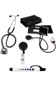 Stethoscopes new: 3M Littmann Classic Stethoscope and Prestige Blood Pressure Monitor with Penlight and ID Clip Kit