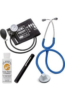"3M™ Littmann® Select 28"" Stethoscope With ADC® Prosphyg 760 Aneroid Sphygmomanometer, Adlite Plus™ Disposable Penlight & Praveni Cleaning Kit"