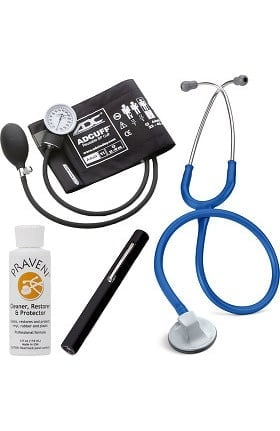 "3M Littmann Select 28"" Stethoscope With ADC® Prosphyg 760 Aneroid Sphygmomanometer, Adlite Plus™ Disposable Penlight & Praveni Cleaning Kit"