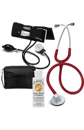 "3M Littmann Select 28"" Stethoscope With Prestige Medical Aneroid Sphygmomanometer, Carrying Case & Praveni Cleaning Kit"