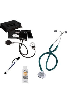 "3M Littmann Select 28"" Stethoscope With Prestige Medical Aneroid Sphygmomanometer, Carrying Case, Pupil Gauge Quick Lites Penlight & Praveni Cleaning Kit"