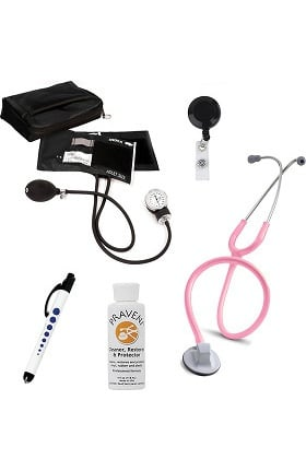 "3M Littmann Select 28"" Stethoscope with Prestige Medical Aneroid Sphygmomanometer, Carrying Case, Pupil Gauge Quick Lites Penlight, Retracteze Badge Holder & Praveni Cleaning Kit"