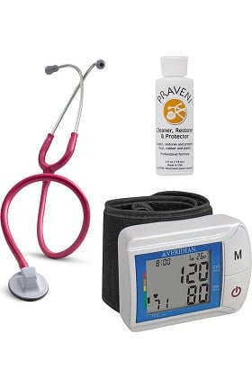 "3M Littmann Select 28"" Stethoscope with Veridian Healthcare Digital Blood Pressure Monitor & Praveni Cleaning Kit"