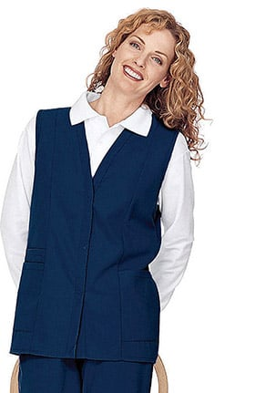 Clearance Landau Women's Double Pocket Solid Scrub Vest