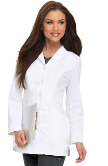 "Smart Stretch by Landau Women's Wing Lapel 31½"" Lab Coat"
