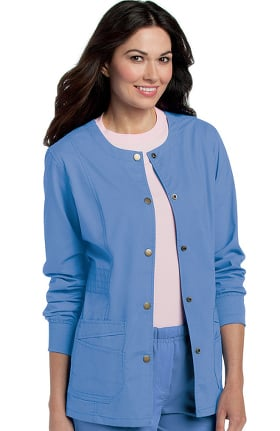 Pre-Washed by Landau Women's Snap Front Solid Scrub Jacket