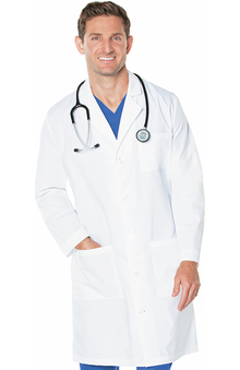 Landau Men's 3-Pocket Full Length Poplin Lab Coat