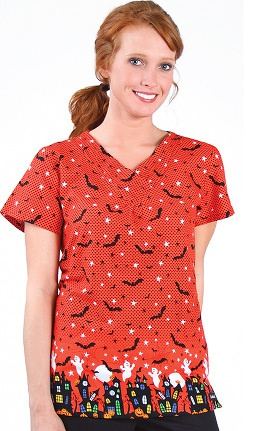 Clearance Landau Women's Pintuck Crossover V-Neck Halloween Print Scrub Top