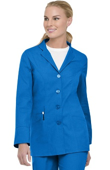 Clearance Landau Women's Button Front Notch Solid Scrub Jacket
