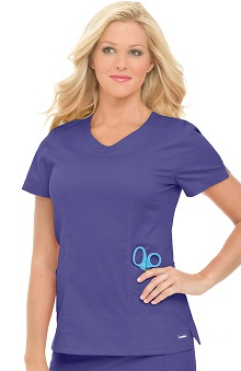 Clearance Smart Stretch by Landau Women's Rounded V-Neck Solid Scrub Top
