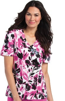 Clearance Landau Women's Crossover Floral Print Scrub Top