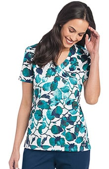 Landau Women's Crossover Leaf Print Scrub Top