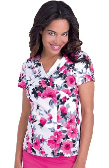 Clearance Landau Women's Shawl Detail Flower Print Scrub Top