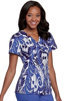Clearance Landau Women's Shawl Detail Luster Print Scrub Top