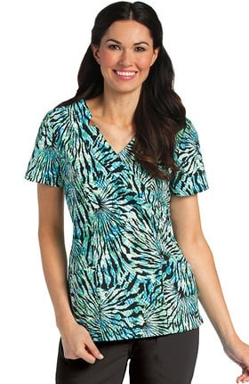 Clearance Landau Women's Shawl Detail Abstract Print Scrub Top