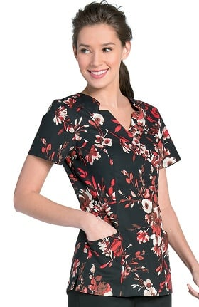 Clearance Landau Women's Shawl Detail Floral Print Scrub Top