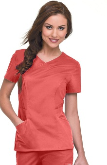 Clearance Smart Stretch by Landau Women's Crossover Solid Scrub Top