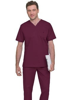 Clearance Stretch Men's by Landau V-Neck Solid Scrub Top