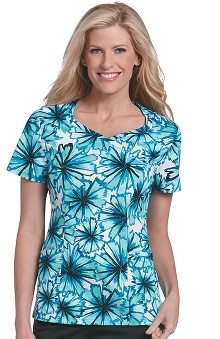 Landau Women's Crossover Sweetheart Pom Print Scrub Top