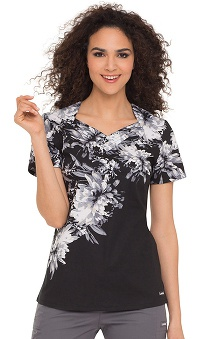 Landau Women's Pleated Stylized Neck Flower Print Scrub Top