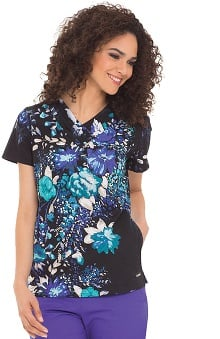 Clearance Landau Women's Crossover V-Neck Flower Print Scrub Top