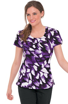Landau Women's Banded U-Neck Abstract Print Scrub Top