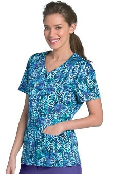 Landau Women's V-Neck Snap Front Abstract Print Scrub Top