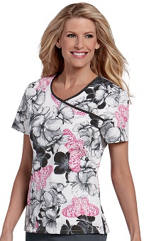 Clearance Landau Women's Bound Surplice Print Top