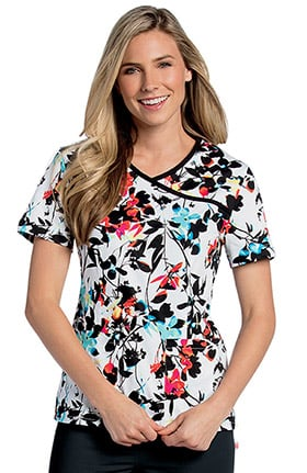 Landau Women's Bound Surplice Animal Print Scrub Top