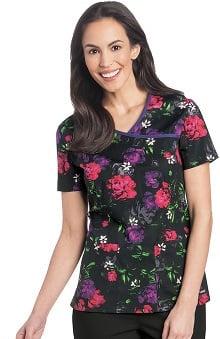 Landau Women's Bound Surplice Floral Print Scrub Top