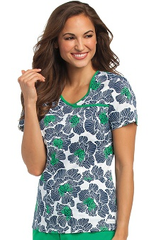 Clearance Landau Women's Bound Surplice Floral Print Scrub Top