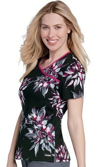 Clearance Landau Women's Bound Surplice Star Print Scrub Top