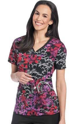 Landau Women's V-Neck Floral Print Scrub Top