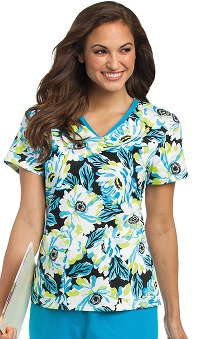 Clearance Landau Women's V-Neck Floral Print Scrub Top